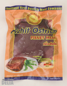 A packet of frozen ostrich fillet