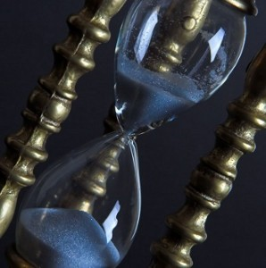 An emptying hourglass