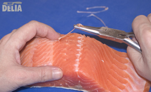 Pinboning a fillet of salmon with a pair of salmon tweezers
