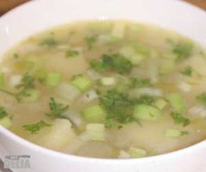 Close-up of a bowl of leek and potato soup