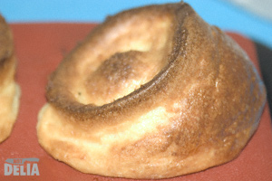 A Yorkshire pudding made using a silicone tray