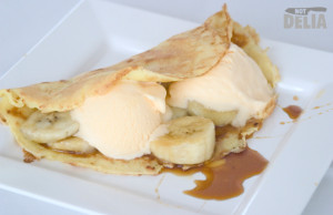Banana crepe with ice cream