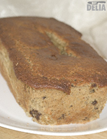 A loaf of banana bread on a plate