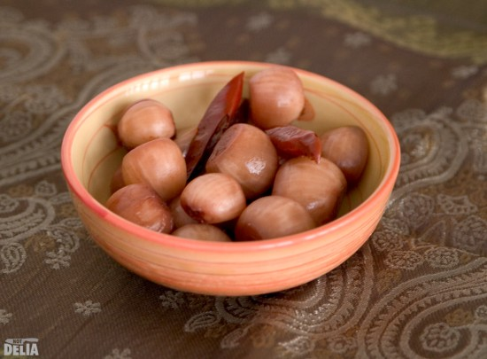 Indian pickled onions in a dish
