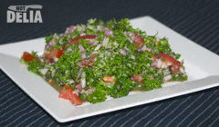 Tabbouleh - parsley, burghul wheat, tomatoes, onions, lime juice and oil and vinegar dressing