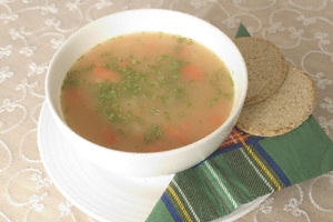 Basic lentil soup in a white bowl