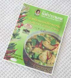 A packet of commercially-produced Thai green curry paste