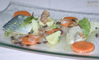 Marinated mackerel with artichoke, carrot, pearl onions and fried pancetta