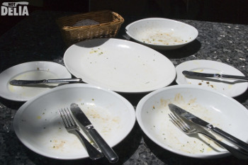 Empty plates on a table