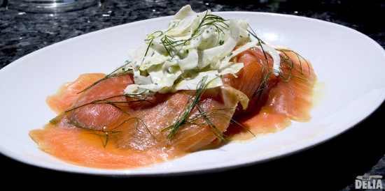 smoked salmon with fennel salad and crème fraiche dressing