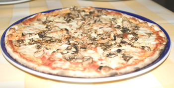 Mushroom and artichoke pizza