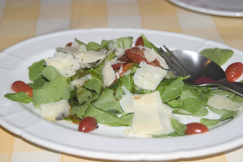 A rocket salad with sundried and cherry tomatoes, balsamic vinegar and Parmesan cheese shavings