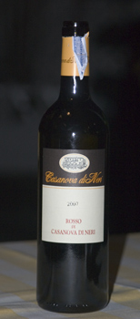 A bottle of Casanova di Nero red wine