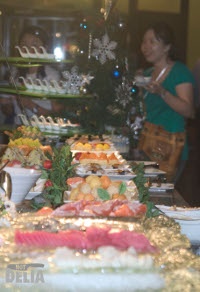 Display of sushi and sashimi on ice
