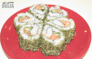 Sakae Blossom negi maki - spicy salmon and cucumber wrapped in rice, nori and some kind of herb