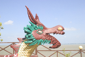 A painted Chinese dragon's head