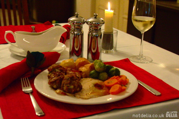 Traditional turkey Christmas dinner