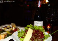 Salad, antipasto and wine at Zaks Wine Pub