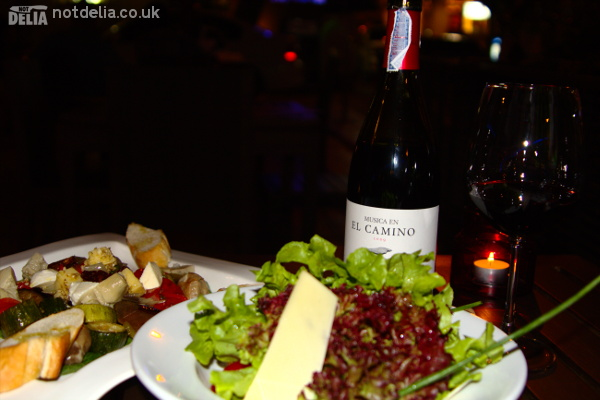 Salad, antipasto and wine at Zaks Wine Pub
