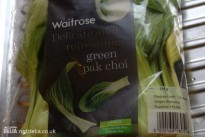 A bag of pak choi from Waitrose, with yellowing leaves