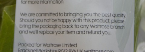Waitrose's no-quibble refund policy
