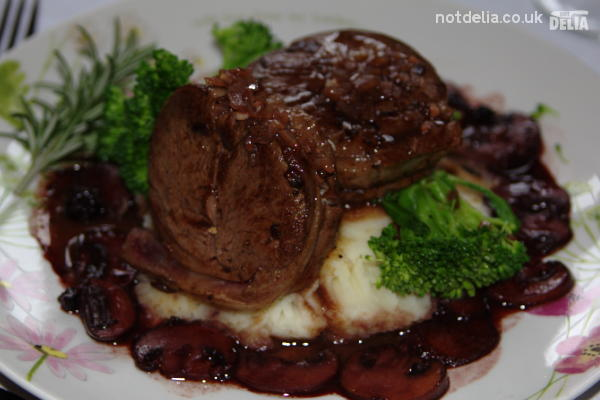 Venison with celeriac mash and blackcurrant & red wine sauce