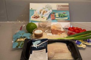Gousto box ingredients for blackened haddock tacos with spicy mayo